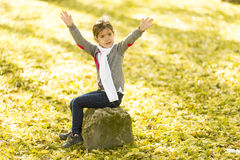 Little girl in the autumn park. Cute little girl in the park at autumn stock image