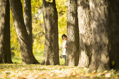 Little girl in the autumn park. Cute little girl in the park at autumn stock photography