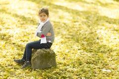 Little girl in the autumn park. Cute little girl in the park at autumn stock photos