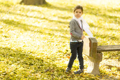 Little girl in the autumn park. Cute little girl in the park at autumn royalty free stock photography