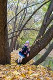Little girl in autumn park on fall day outdoors Royalty Free Stock Photo
