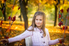 Little girl in the autumn park Stock Photography