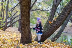 Little girl in autumn park outdoors Royalty Free Stock Image
