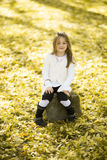 Little girl at the autumn park Royalty Free Stock Image
