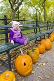 Little girl in autumnal Central Park Royalty Free Stock Photo