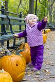 Little girl in autumnal Central Park Stock Images