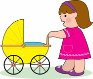 Little Girl with a Baby Carriage Royalty Free Stock Image