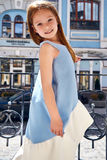 Little girl baby face cute and pretty walk on the street sun Stock Photo