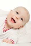 Little Girl Baby Laying Under White Blanket Royalty Free Stock Images