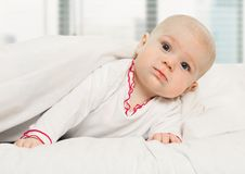 Little Girl Baby Laying Under White Blanket Stock Photography