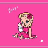 Little girl baby pink background Royalty Free Stock Photo