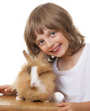 Little girl with a baby rabbit Stock Photo