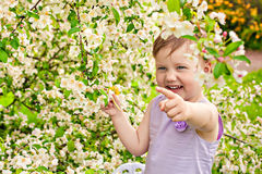 Little girl on a background of bush with flowers Royalty Free Stock Image