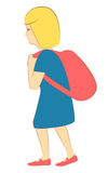 Little girl with backpack. Little blond girl in blue dress and pink shoes walking with a backpack Royalty Free Stock Photos