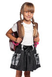 Little girl with backpack Stock Photos