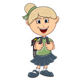 Little girl with backpack cartoon Stock Image