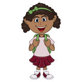 Little girl with backpack cartoon Royalty Free Stock Photos