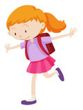 Little girl with backpack on her back Royalty Free Stock Photo