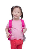 Little girl with backpack isolated over white Royalty Free Stock Photography
