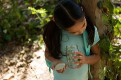Little girl with backpack looking into jar with plant on a sunny day. In the forest Royalty Free Stock Image