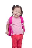 Little girl with backpack over white Stock Images