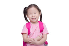Little girl with backpack over white Royalty Free Stock Photography