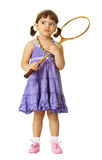 Little girl with a badminton racket Royalty Free Stock Photo
