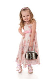 Little girl with a bag in his hand Royalty Free Stock Image