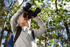 Little girl with bag pack enjoying nature with binoculars. In the forest stock photos