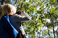 Little girl with bag pack enjoying nature with binoculars. In the forest royalty free stock images