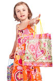 Little girl bag shopping invitation Royalty Free Stock Image