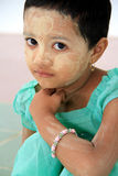 Little girl in the Bago temple in Myanmar. July 27, 2013 Royalty Free Stock Images