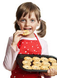 Little girl baking Christmas cookies Royalty Free Stock Images