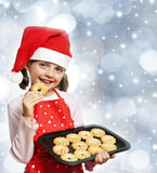 Little girl baking Christmas cookies Royalty Free Stock Photography