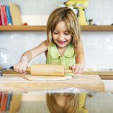 Little Girl Baking Cookies Concept Stock Photos