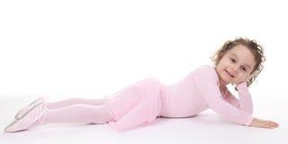 Little girl balerina dancer isolated on white Stock Photo