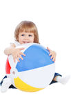 Little girl with the ball Stock Image