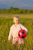 Little girl with a ball Stock Photo