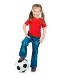 Little girl with the ball. Over white backgrounf royalty free stock photos