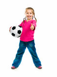 Little girl with the ball. Over white backgrounf stock images