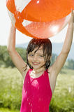 Little girl with ball Royalty Free Stock Image