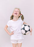 Little girl with ball. Royalty Free Stock Photos