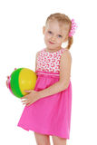 Little girl with the ball Royalty Free Stock Photo