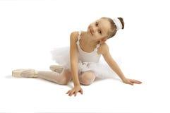 Little girl ballerina. In white tutu Royalty Free Stock Image