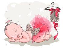 Little girl in ballerina costume sleeping sweetly Stock Photo