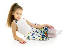 Free Little Girl Ballerina In The Image Posing On The Floor. Stock Photo - 183617160