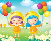 Little girl ballon Stock Images