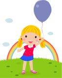 Little girl with an balloon. Cartoon Royalty Free Stock Photos