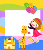 Little girl with balloon and giraffe Royalty Free Stock Photos
