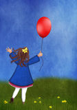 Little girl with a balloon in a spring meadow Stock Image